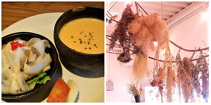 CAFE LA PAIX:サラダとスープ&天井のアレンジメント