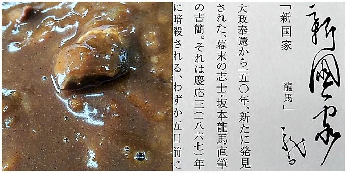 龍馬(軍鶏)カレー:実物&パッケージ裏面