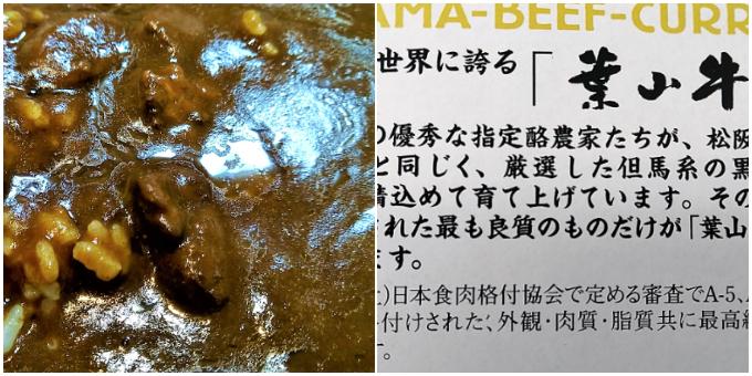 葉山牛カレー:実物&パッケージ裏面
