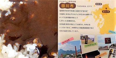 チロルチョコとけこむカレー(ほろにがコーヒーヌガー):実物&田川市PR